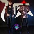 Hombres concierto DJ cantante Masculino Azul Rojo Paillette vestido de lentejuelas trajes de la etapa mostrar abrigos chaqueta escudo outfit performance