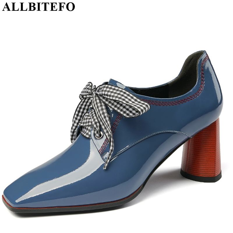 ALLBITEFO Fashion Genuine Leather Lace Up Women Heels Charming Ladies High Thick Heels Shoes Spring Autumn Girl High Heels