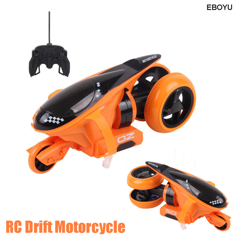EBOYU QF100 2CH RC Motorcycle Rear Wheel Drive 360-Degree Drift Motorcycle Stunt Car Toy With LED Flash Light Gift for Children