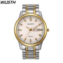 WLISTH Marca de Lujo Calendario Completo Relojes Amantes de Los Relojes A Prueba de agua Hombres de Acero Inoxidable de la Mujer Reloj de los Pares Reloj de pulsera de Cuarzo