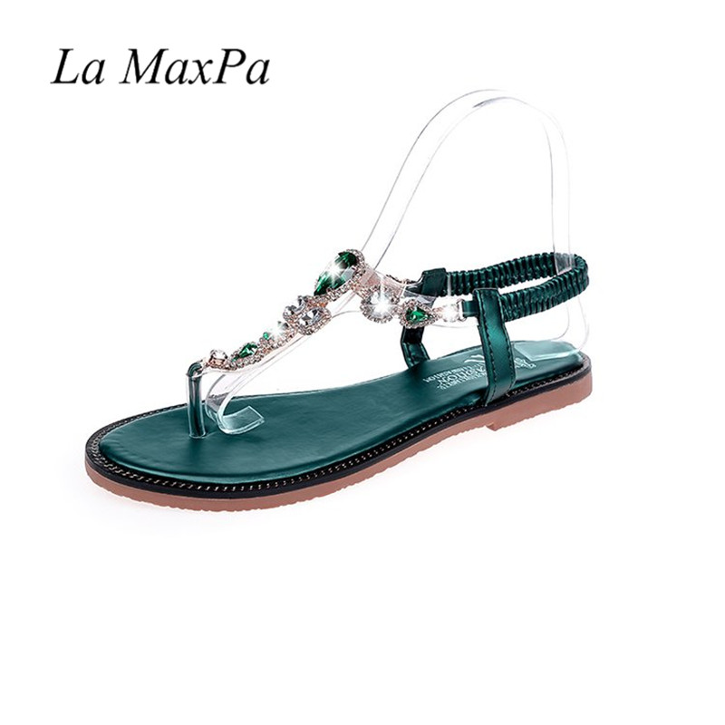 Woman Flats Flip Flops Shoes Summer Beach Sandals 2018 Fashion Leather Women Sandals Bohemian Diamond Elastic Band Zapatos Mujer fashion sandals women flower flip flops summer shoes soft leather shoes woman breathable women sandals flats sandalias mujer x3