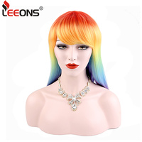 Leeons Fashion Long Straight Ombre Colored Heat Resistant Synthetic Wigs For Women Rainbow Hair Red Wig Popular Wigs For Sale