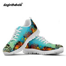Doginthehole Scuba Pattern Sneakers Women Walking Shoes Outdoor Flat Comfortable Laceup Footwear Spring Autumn Woman Sport