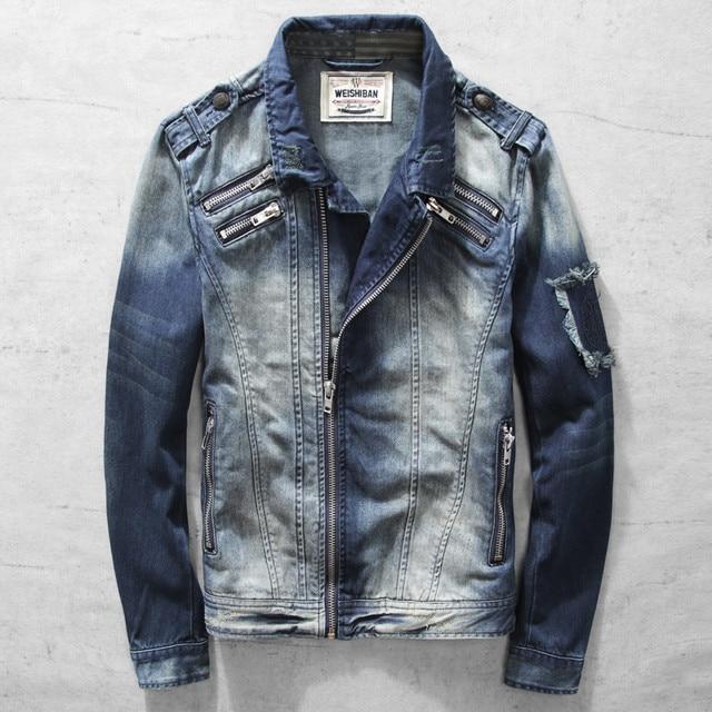2019  Men Denim Jacket New Casual Slim Jean Jacket Motorcycle Coat Brand Fashion Autumn Long Sleeve Jacket  Outwear   A3324