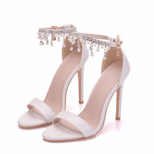 White Wedding 11cm Thin High Heels Women Sandals Shoes Summer Ladies Casual Party Sexy Sandal Big Size 40 XY-A0109