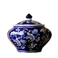 Achthoekige Pot Blauw En Wit Porselein van Jingdezhen Keramische Opslagtank Decoratie Thee Snacks Potten