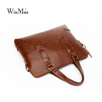 Factory Direct Winmax New Men Leather Handbag Briefcase Business Laptop High Quality Top Handle Shoulder Bag