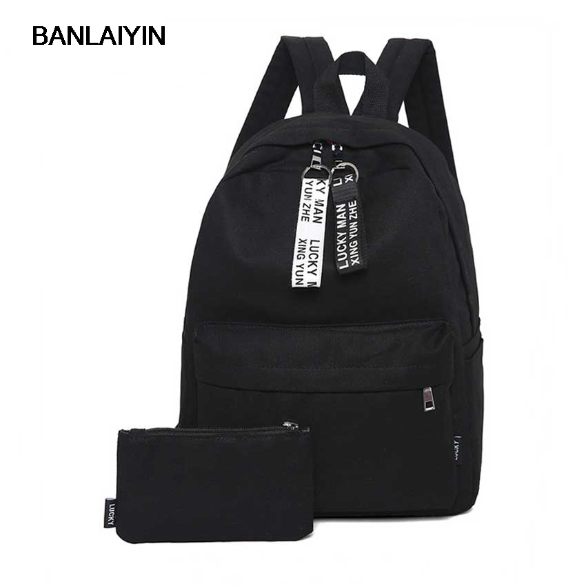 1PCs Large Capacity Women Nylon Solid Backpacks High School Bags For Teenagers Students Boy Girls Casual