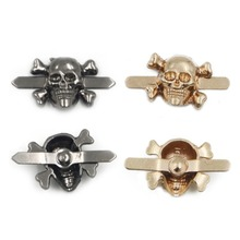 50pcs 15*13mm Mix 2 Colors Skull Rivets Nailheads Clips Pick Punk Rock DIY Studs Spikes