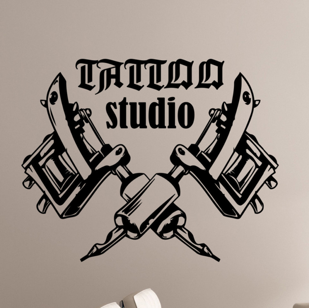 Logo vinyl sticker window art decorations tattoo salon room decor remomvable tattoo machines wall decals art wallpaper zb157
