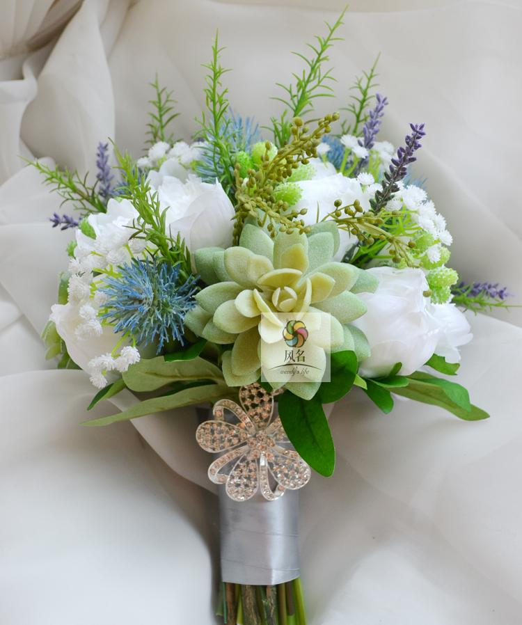 Handmade Wedding Bridal Bridesmaid Bouquet White Green