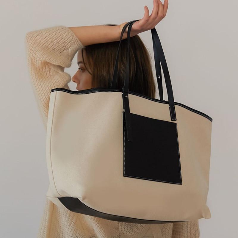 2019 New Women Handbag Big Ladies Shoulder For Girl Color Matching Big Fashion Casual Summer Travel Shopping Tote
