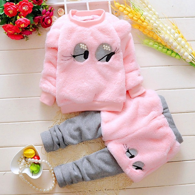Autumn Winter Children Kids Baby Infants Girls Long Sleeve Faux Fur Sweater Pullover+Pant Thicken Velvet Clothes Sets Suit S4147