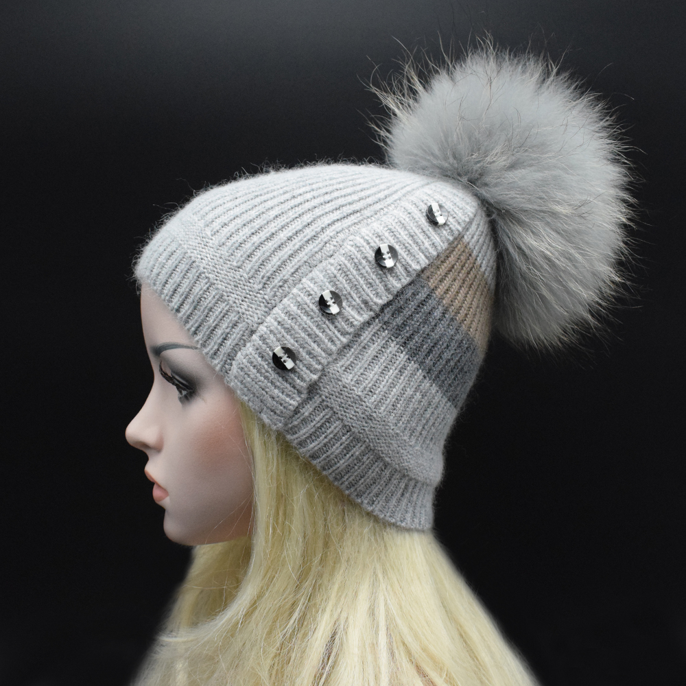 22cm Real raccoon fur pom poms women wool Beanie hat Patchwork Color personality bonnet High quality