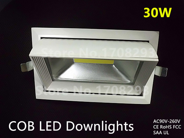 Rotatable Rectangle COB LED Downlights 30W Recessed flood Die-cast aluminum white replace R7S 100W150W halogen lamp 110V-240V high power dimmable 189mm led r7s light 50w cob r7s led lamp with cooling fan replace 500w halogen lamp