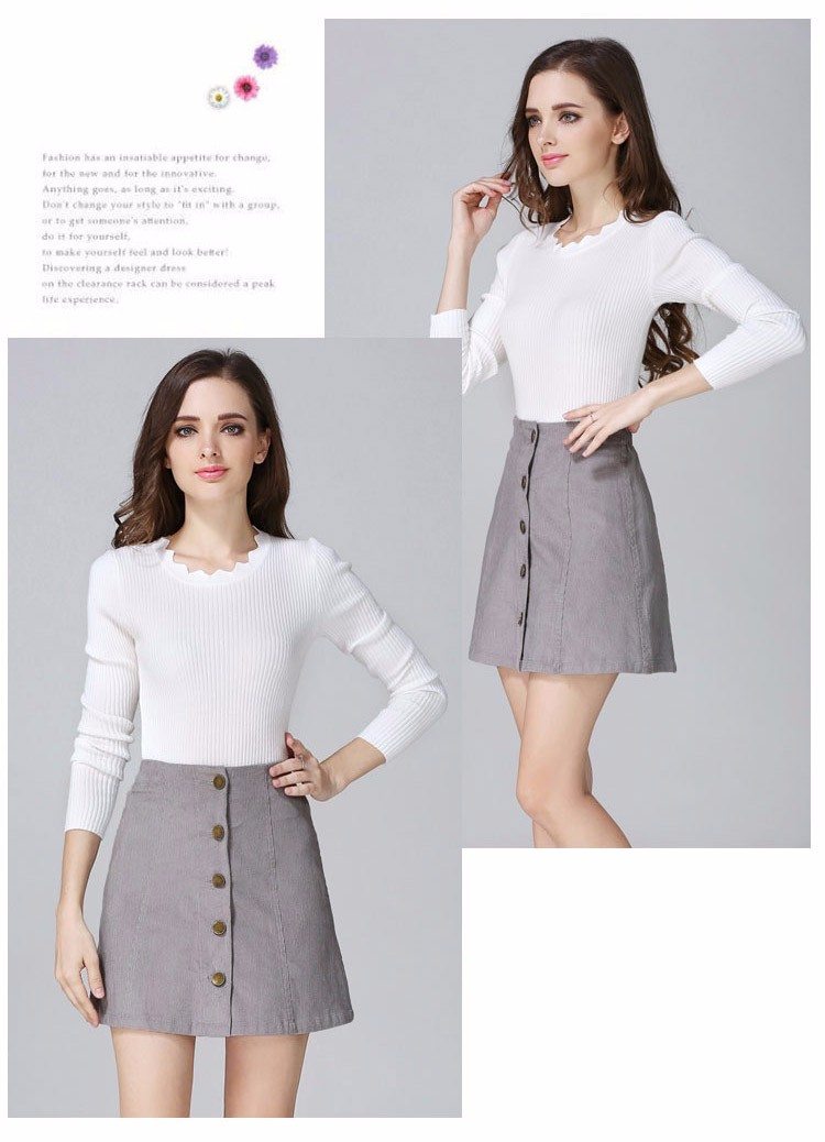 Saia 2016 Autumn vintage fashion corduroy high waist sexy mini skirt winter short a line skirts black gray casual skirts A802 c