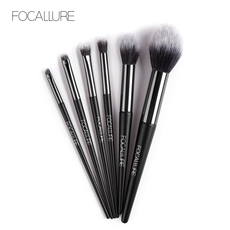 FOCALLURE 6 Pcs/Set Professional Makeup Brushes Kit with Eyeshadow Powder Brush Cosmetic Beautiful Make Up Brush Tools lit 11 in 1 professional cosmetic makeup brushes set brown coffee 11 pcs