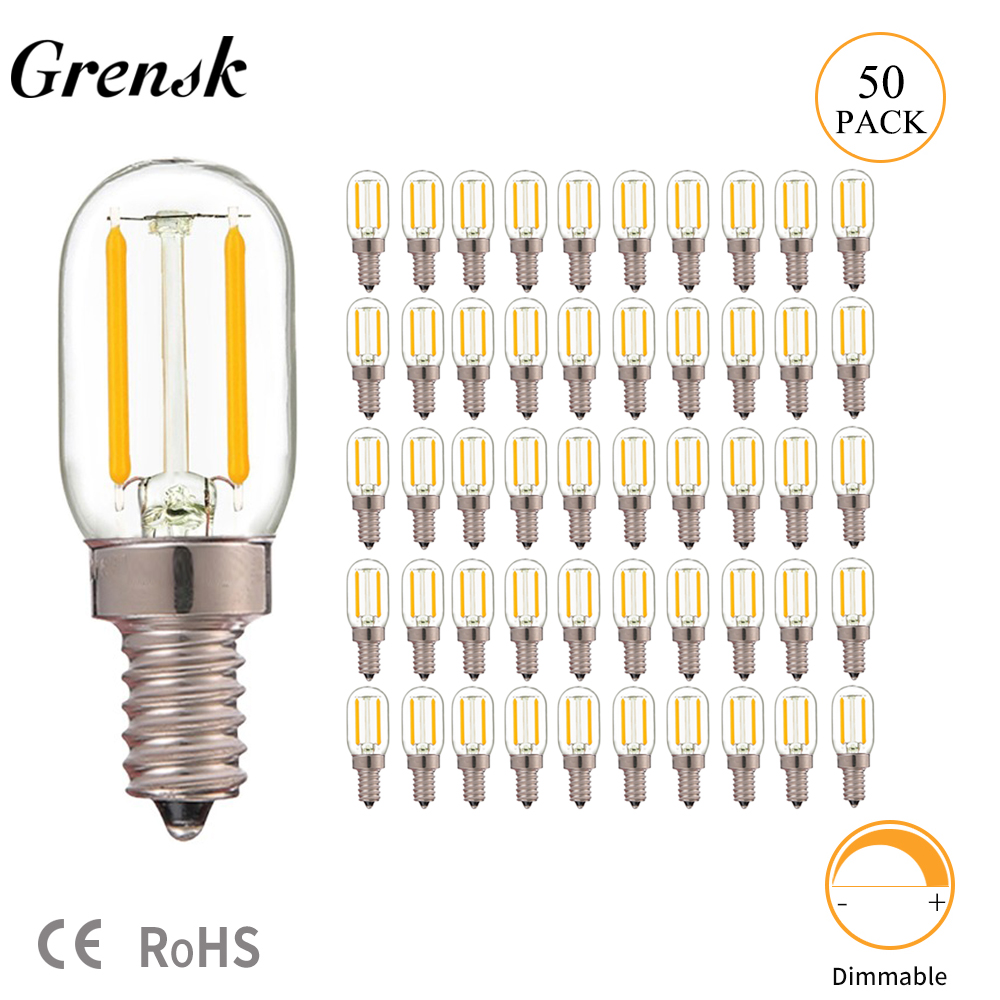 Grensk 50pcs/lot T20 Radio Refrigerator Lamp 1W Super Warm 2200K Retro LED Filament Bulb E12 E14 Base 110V 220VAC Dimmable Leds