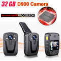 Free Shipping!D900 Novatek 96650 32GB Full HD 1080P Police Body Lapel Worn Video Camera Recorder DVR IR Night Cam 6-hour Record