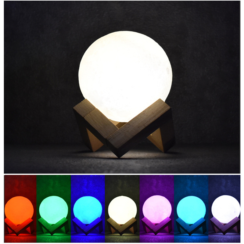 LED Night Light 3D Moon Light Creative Lamp Table Lamp USB Rechargeable Children Baby Gift Christmas Decoration Fashion Colorful