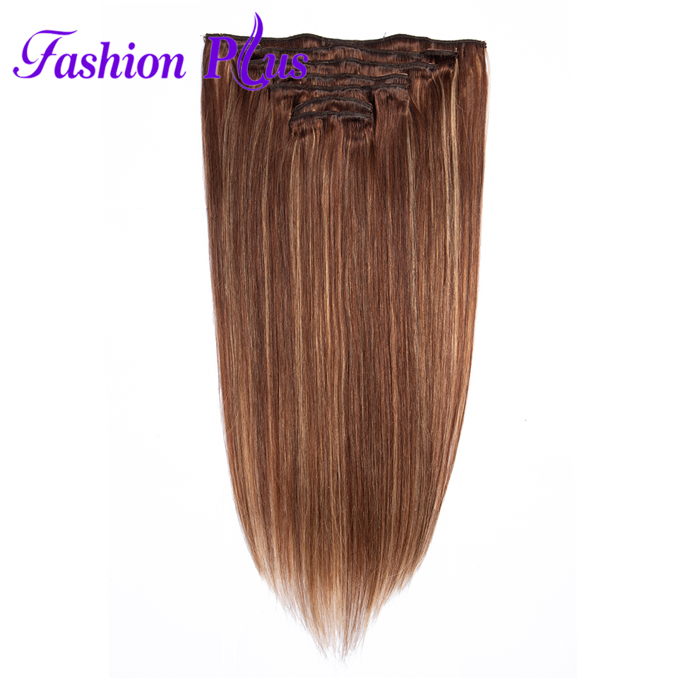 Clip In Human Hair Extensions 120g Machine Made Remy Hair Full Head 7PCS Set Brazilian Hair Clip In Hair Extensions Ship Free