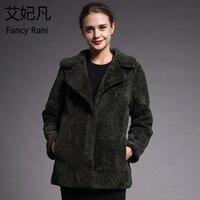Темно зеленое пальто из натуральной овчины для женщин, верхняя одежда, зимнее теплое пальто, шерстяное длинное пальто, Женское пальто из нат