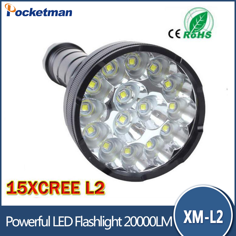 Zk26 20000 Lumens 15 x XM-T6 LED 5 Light Modes Waterproof Super Bright Flashlight Torch with 1200m Lighting Distance mayitr super bright led flashlight xml 3506 t6 20000 lumens 5 modes zooming torch