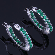 Sparkly Round Green Cubic Zirconia 925 Sterling Silver Clip Hoop Huggie Earrings For Women V0946 цена 2017