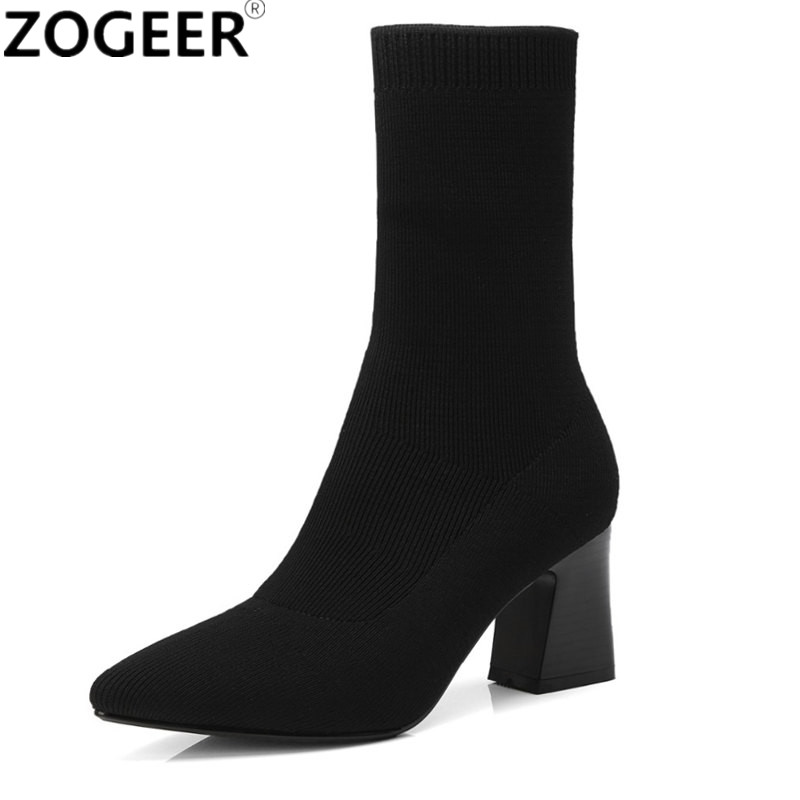 Fashion Ankle Elastic Sock Boots Women Genuine Leather High Heels Stretch Autumn Sexy Black Ladies Boot Pointed Toe Women Shoes цена 2017