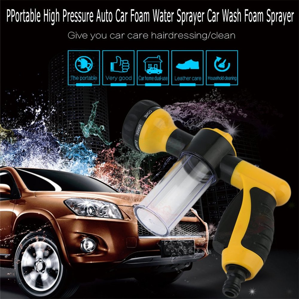 Auto Car Foam Water Sprayer Car Portable High Pressure Car Wash Water Sprayer Home Car Foam Sprayer Black+yellow(China)