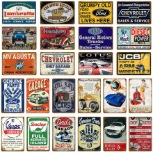 Car Garage Vintage Metal Tin Signs Vespa Decorative Plates Mack Trucks Wall Stickers Motorcycle Poster Home Decor YH027(China)