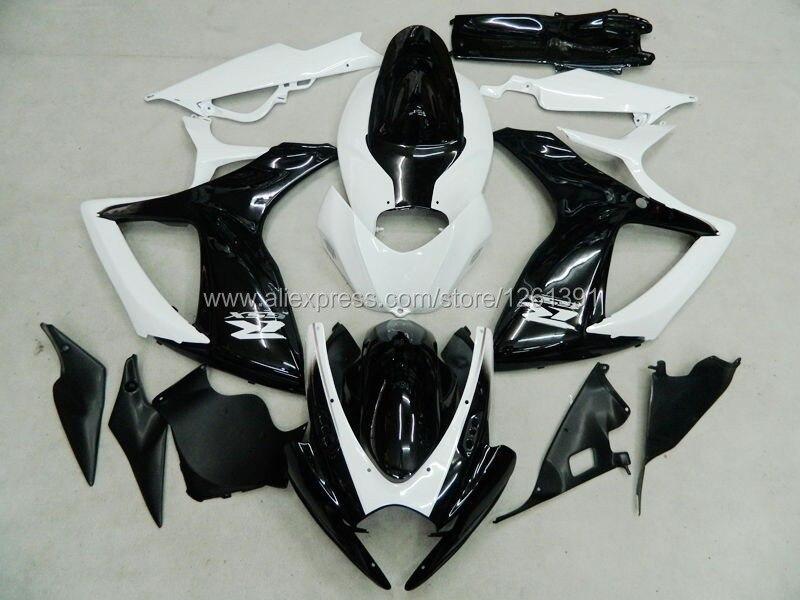 Инъекции обтекатель комплект для SUZUKI GSXR600 750 06 07 черный/белый GSXR600 750 2006 2007 GSXR600 GSXR750 GSXR600 750 K6 06 07