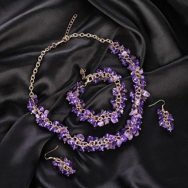 Hot Sale Statement Jewelry Set Purple Natural Stone Chunky Necklace Beads Bracelet Big Dangle Earrings Set