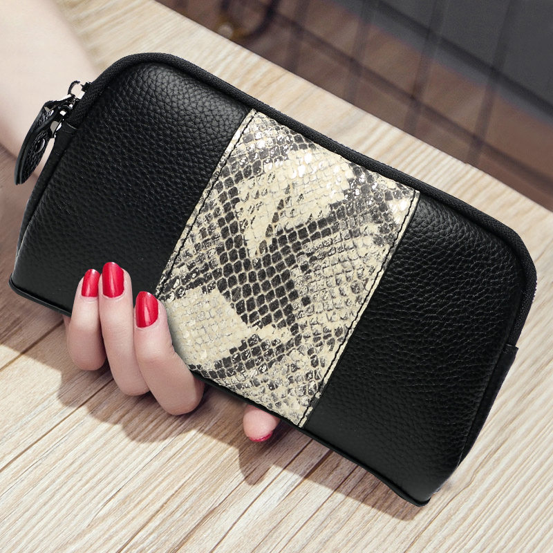 Serpentine Genuine Leather Celebrity Day Clutches Women Handbag Clutch Wallet Coin Purse Phone Bag High Capacity Zipper Wristlet