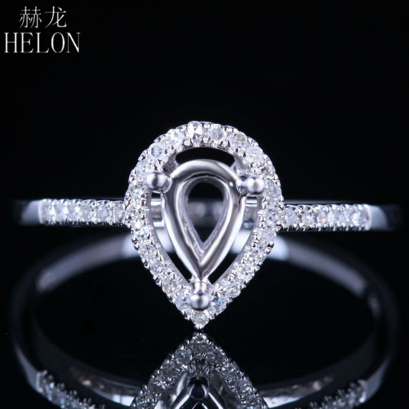 HELON 7x5mm Pear Cut Semi Mount Ring Setting Sterling Silver 925 0.2ct Natural Diamond Engagement Ring Women Trendy Fine Jewelry-in Rings from Jewelry & Accessories    1