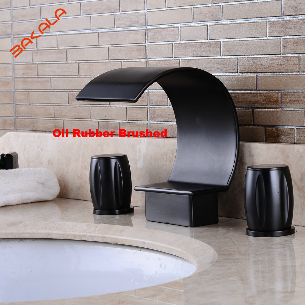 BAKALA  3pcs ORB /Nickel brushed bathroom faucet Newly Retro Style Oil Rubbed Bronze Bathroom Basin Sink Faucet Mixer Tap Vessel allen roth brinkley handsome oil rubbed bronze metal toothbrush holder