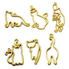 3Pcs Cute Cat Pendant Blank UV Resin Frames Open Bezel Setting Jewelry Making