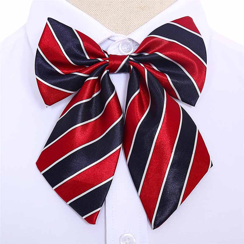 1PC Hot Women Girls Silk Bow Ties  Striped Stewardess Butterfly Bowties Cravat Vintage Neck Wear Accessories