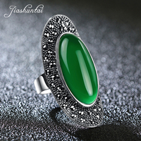 JIASHUNTAI Vintage 925 Sterling Silver Rings For Women Retro Big Wedding Rings Thai Silver Jewelry Female 4 Color