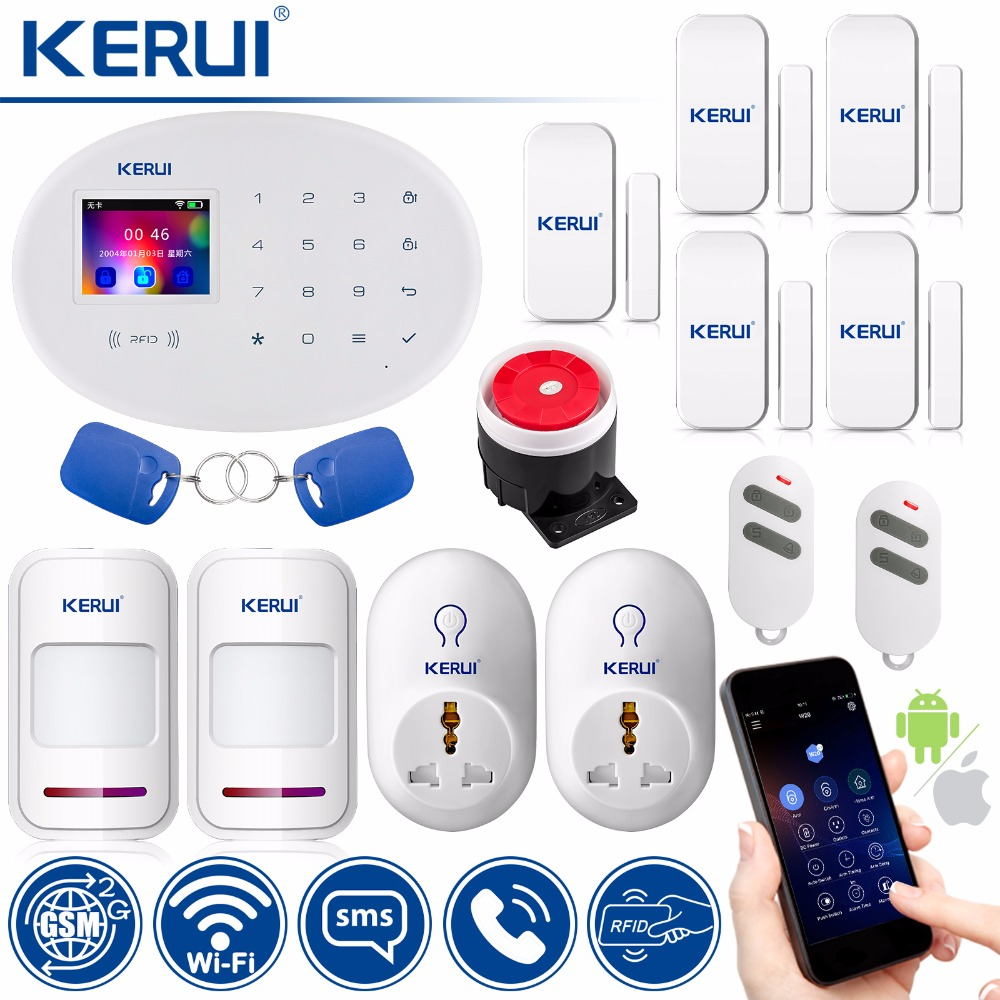 KERUI WIFI GSM Home Security Alarm System Smart Socket Smart Home RFID Card APP Control Motion Detector Burglar Alarm kerui wifi gsm home security alarm system smart socket smart home rfid card app control motion detector burglar alarm