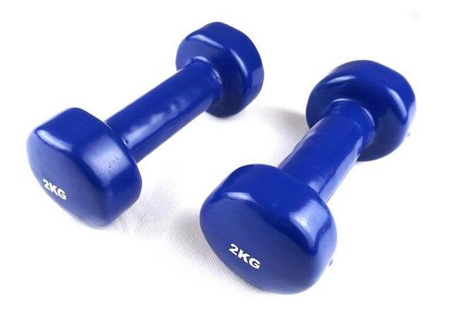 63b39eed776bb6 Crossfit Training Blu 2 KG Vinile Manubri di Fitness Attrezzature Per La  Perdita di Peso per