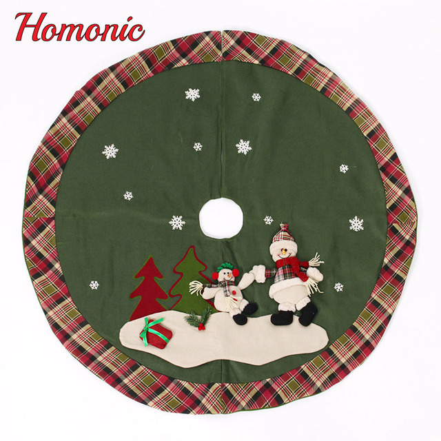120cm christmas tree skirt christmas decorations for home santa claussnowman xmas tree buffalo plaid decor new - Buffalo Christmas Decorations
