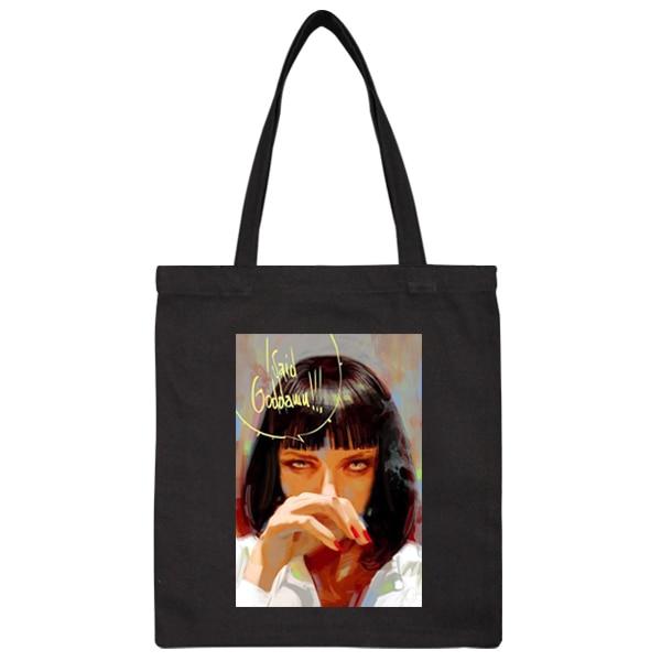 76b0bf834e0 Pulp Fiction Movie Mia Poster Rock Title Vintage Handbag Shoulder Shopping  Bag Tote Bag Gifts