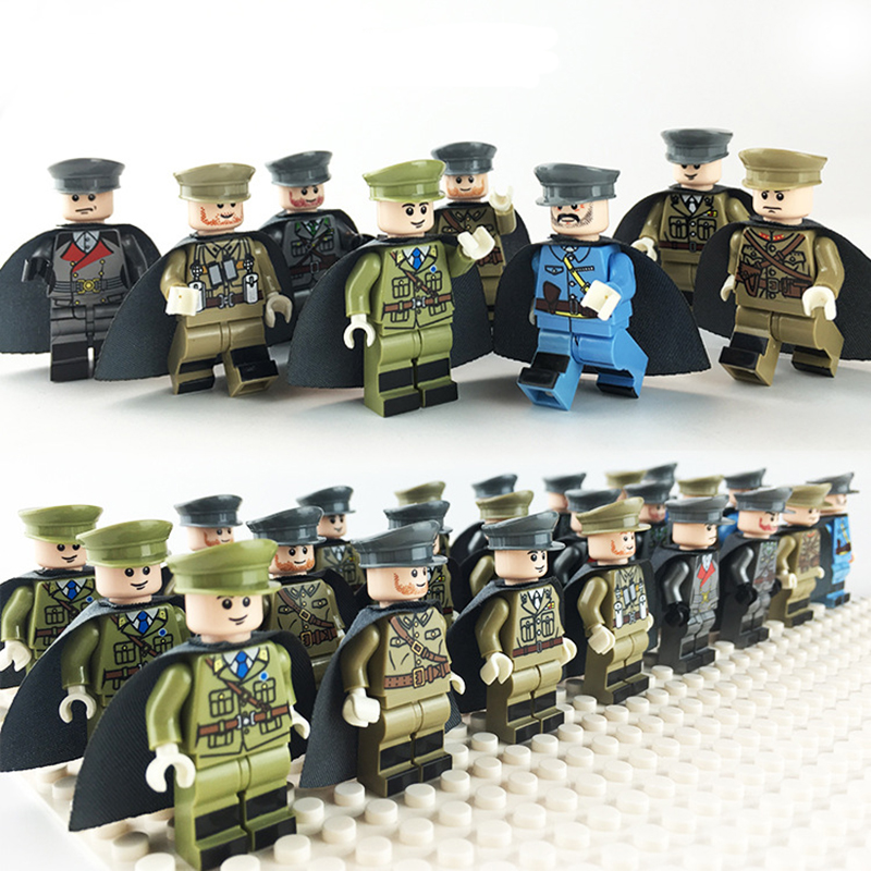 8pcs Military WW2 USA Soviet Chinese German Japanese GB Italian French Army Kids Educational Building Blocks toy children Gifts 4pcs ww2 the battle of black forest militray model building blocks set army german soldier minifigures bricks toy for kids gifts