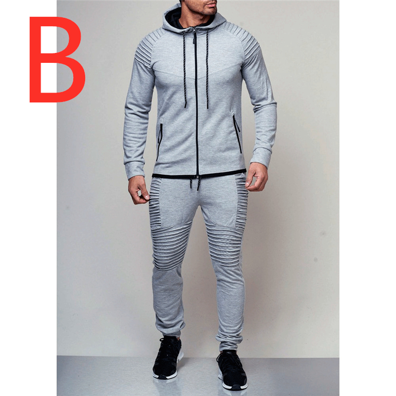 B Print Logo Man Sets Men's Autumn Hoodies Tracksuit Male Zipper Sweatshirts Sweatpants High Street Jackets Slim Sets Full Suits