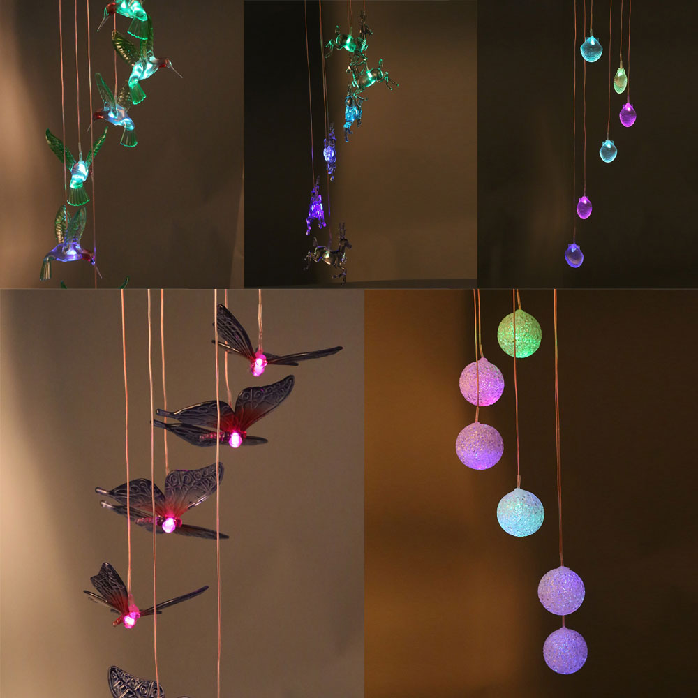 New Solar Powered Led Lighting Lamp Color Changing LED Wind Chimes Decoration Energy Saving Butterfly Ball Shaped Holiday Light solar powered energy saving 60 led string light 10 meter multi color leds