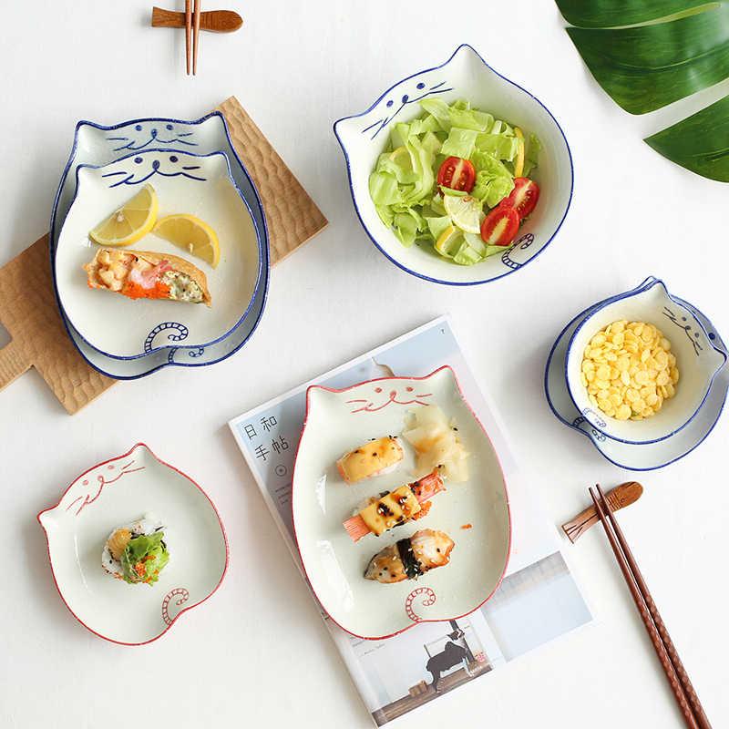 1 قطعة النمط الياباني أدوات مائدة سيراميك القط شكل حساء طبق للنودلز أطباق عشاء أطباق بورسلين الصحن السوشي الأرز أواني الطعام