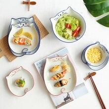 1pc Japanese Style Ceramic Tableware Cat Shape Soup Noodle Bowl Dinner Plates Porcelain Dishes Saucer Sushi Rice Dinnerware salad bowl porcelain plate japanese style home decor tableware ceramic dinner bowls soup noodle rice bowl