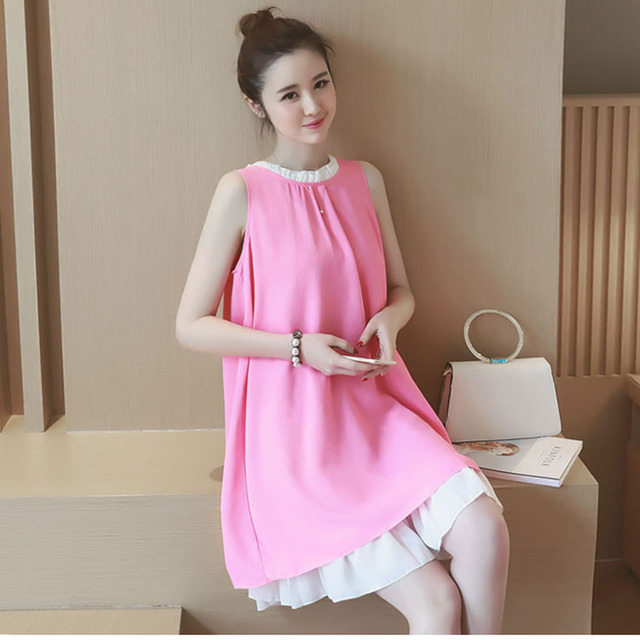 a2ecad25a9e9 Cute Maternity Clothes Fashion New Summer Chiffon Vest Clothing For Pregnant  Women Dresses Loose Sleeveless Pregnancy Dress 0802