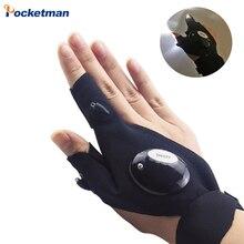 Guante de dedo con correa mágica para pesca, linterna LED, cubierta de antorcha, supervivencia, Camping, senderismo, herramienta de rescate z20